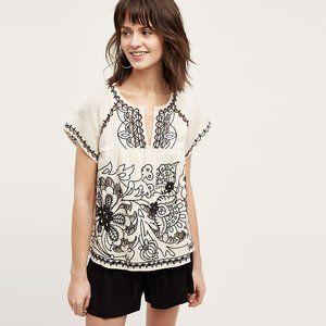 Anthropologie Embroidered Rheya Boho Linen Top 4